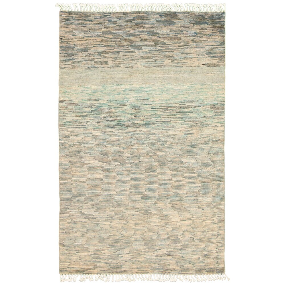 ECARPETGALLERY  Hand-knotted Pak Finest Gabbeh Turquoise Wool Rug - 4'11 x 7'7 (Turquoise - 4'11 x 7'7)