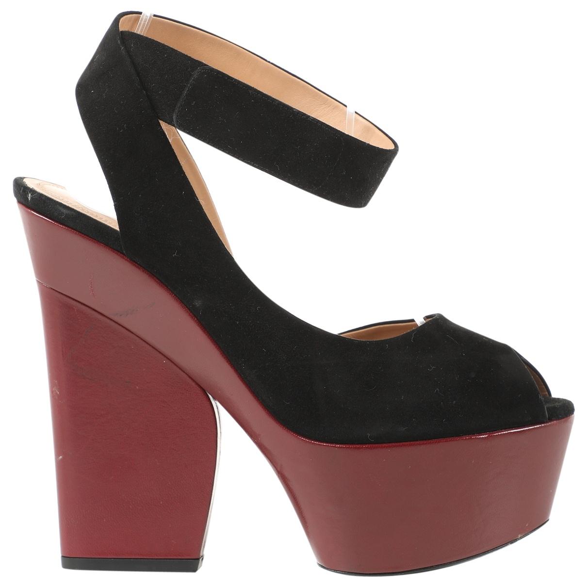 Celine N Burgundy Leather Sandals for Women 37.5 EU