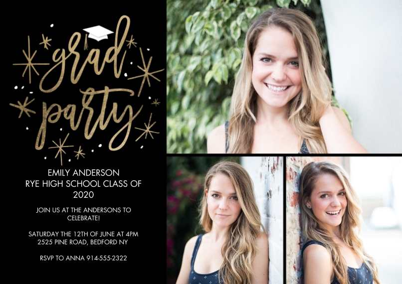 2020 Graduation Invitations 5x7 Cards, Premium Cardstock 120lb with Scalloped Corners, Card & Stationery -Grad Party Simple Stars by Tumbalina