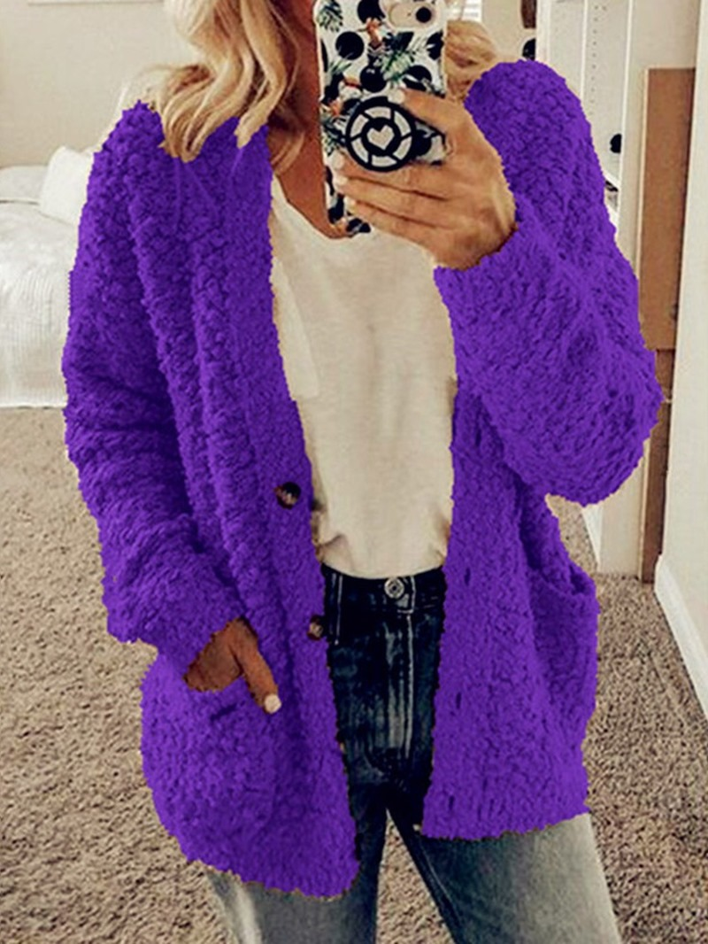 Ericdress Mid-Length Plain Regular Single-Breasted Slim Faux Fur Overcoat