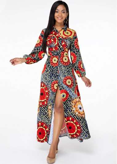 Cocktail Party Dress Front Slit Long Sleeve Tribal Print Dress - S