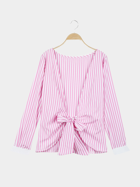 Yoins Stripe Pattern Open Back Long Sleeves Top