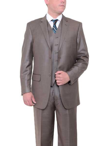 Mens Taupe Brown 2 Button Textured Classic Fit Side Vents Vested Suit