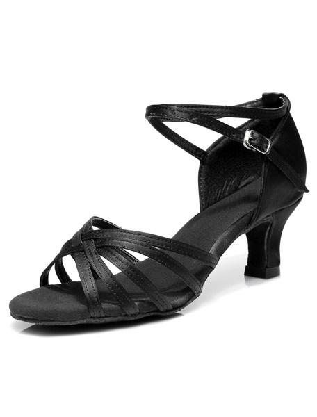 Milanoo Latin Dancing Shoes Satin Criss Cross Ballroom Shoes For Women