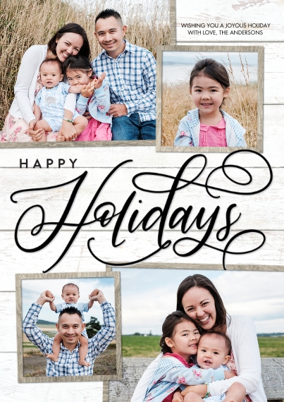 Holiday Photo Cards 5x7 Cards, Premium Cardstock 120lb with Elegant Corners, Card & Stationery -Holiday Black Script by Tumbalina