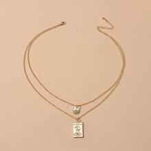 1pc Geo Charm Layered Necklace