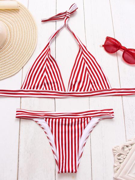 Yoins Red Stripes Triangle Bikini Set