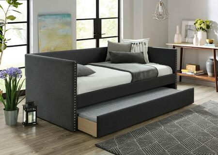 Rowan Collection RW8013-CH Daybed with Trundle Included and Nailhead Trim in Charcoal