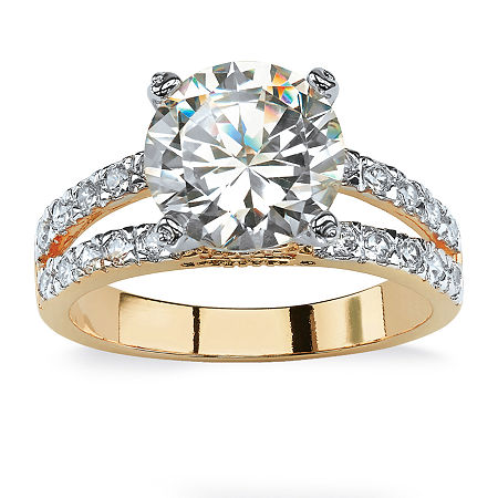 Womens 4 1/2 CT. T.W. White Cubic Zirconia 14K Gold Over Brass Engagement Ring, 8 , No Color Family