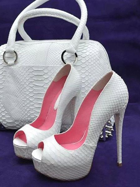 Milanoo Zapatos de fiesta peep toe para mujer Zapatos de tacon alto Zapatos de noche con estampado de serpiente blancos