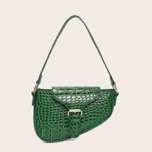 Croc Embossed Asymmetrical Saddle Bag