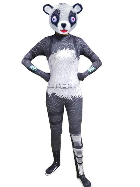 Milanoo Halloween Carnaval Fortnite Disfraces de Cosplay Panda Girl Grey Jumpsuit Halloween Team Leader Game Disfraz de Cosplay sin mascara