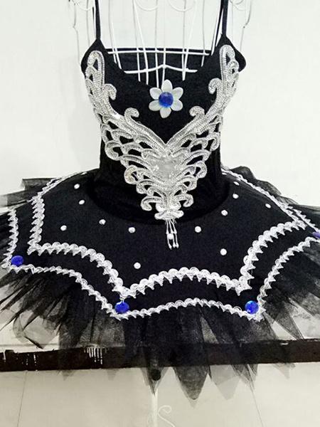 Milanoo White Ballet Dress Beading Tutu Dance Dress Ballet Camisole Leotard Dress