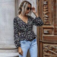 Bluse mit Bluemchen Muster, V Ausschnitt vorn und Schosschen