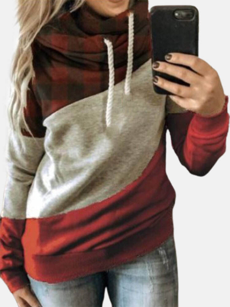 Patchwork Drawstring Long Sleeve Plus Size Casual Hoodie