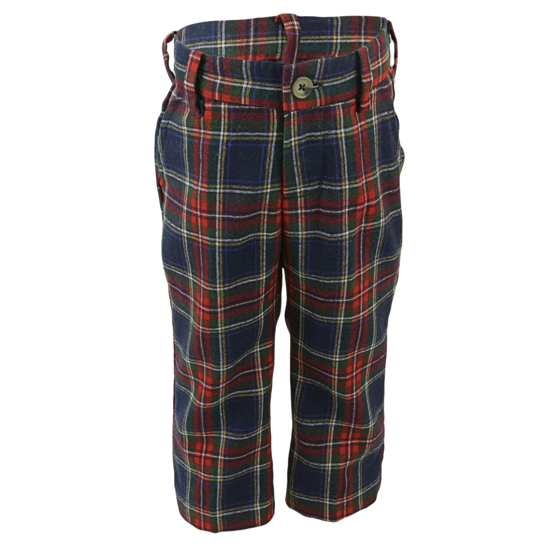 Janie And Jack Boy's Navy Plaid Tartan Wool Pant Pants - 18-24 Months