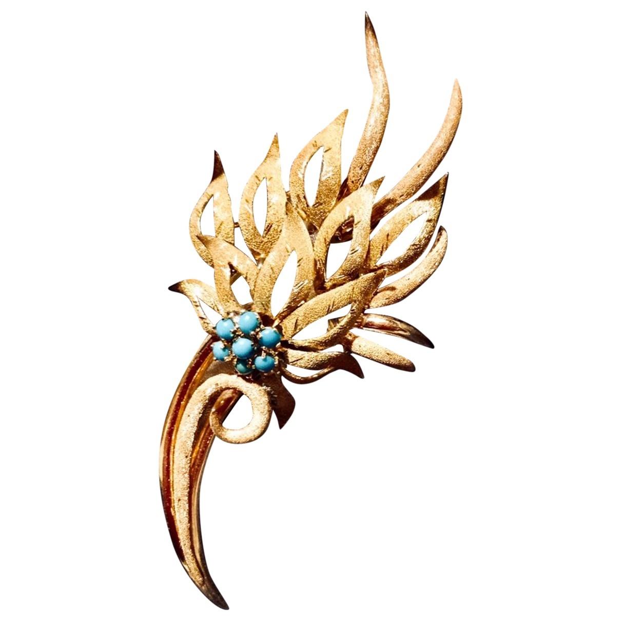 - Broche Motifs Floraux pour femme en or jaune - dore
