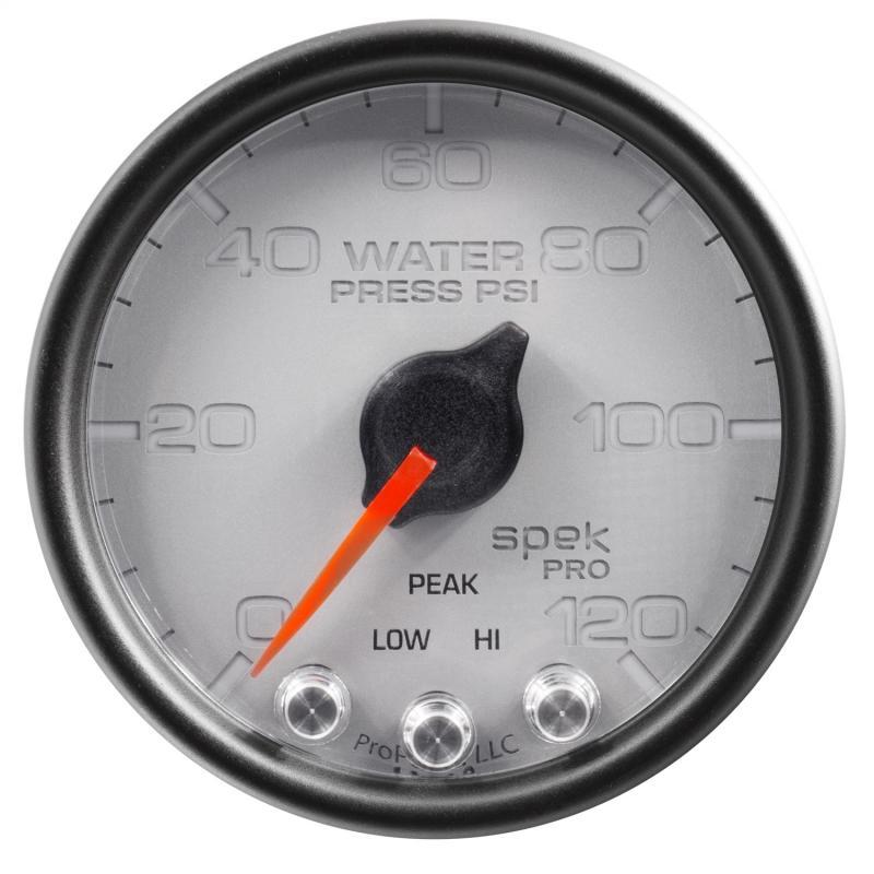 AutoMeter GAUGE; WATER PRESS; 2 1/16in.; 120PSI; STEPPER MOTOR W/PEAK/WARN; SLVR/BLK; SPEK
