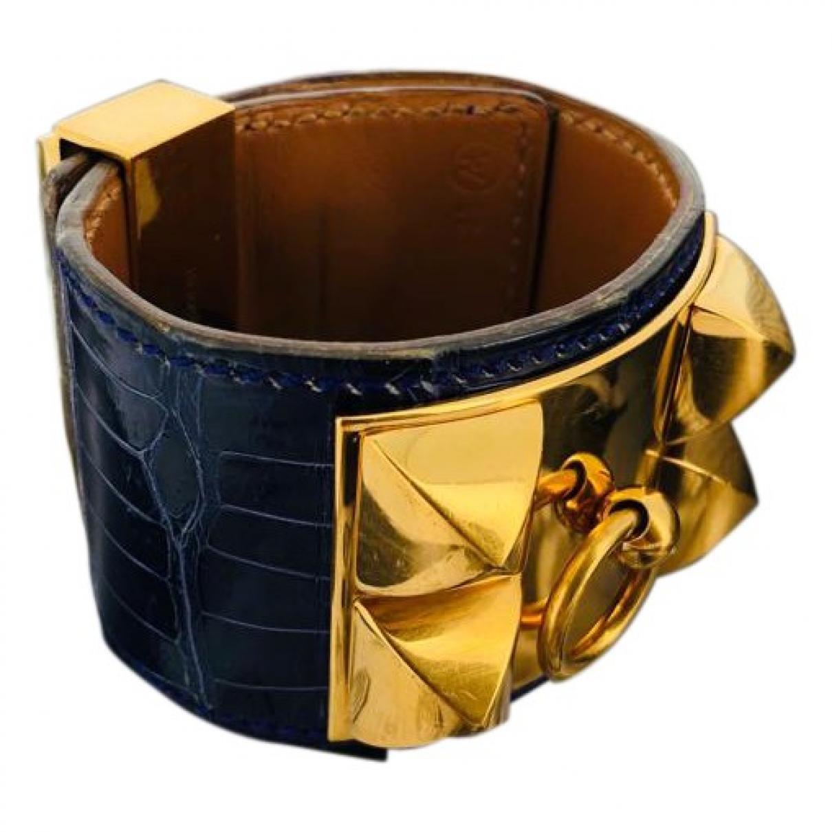Hermes - Bracelet Collier de chien  pour femme en crocodile - marine