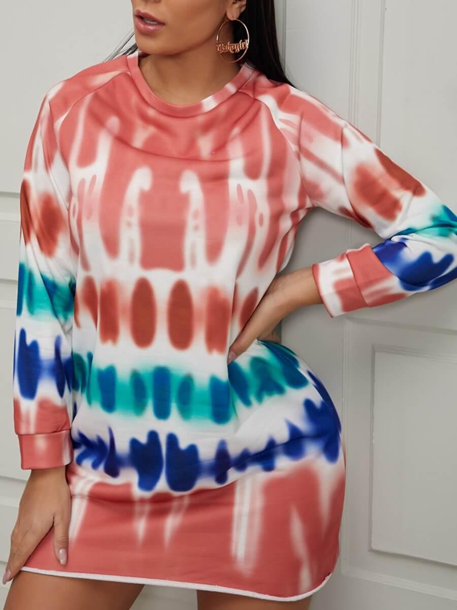 LW Lovely Casual Tie-dye Brown Mini Dress