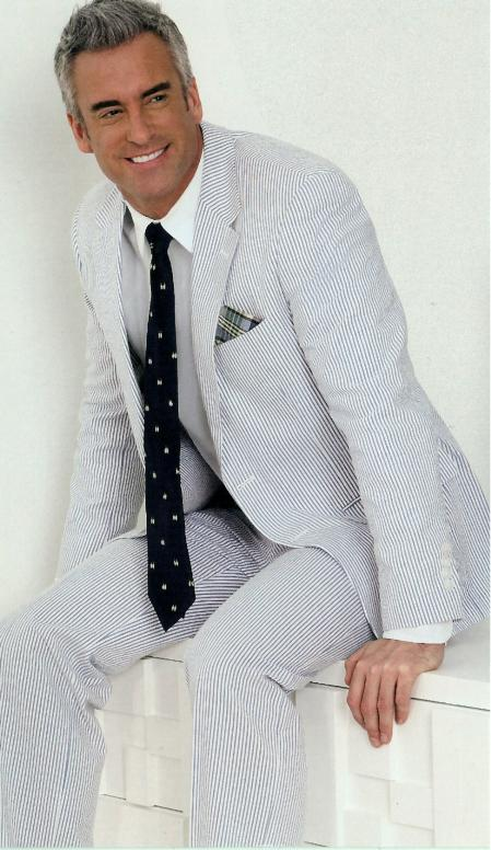 100% Cotton 2Button Suit Lightweight Suit in Navy Blue / White