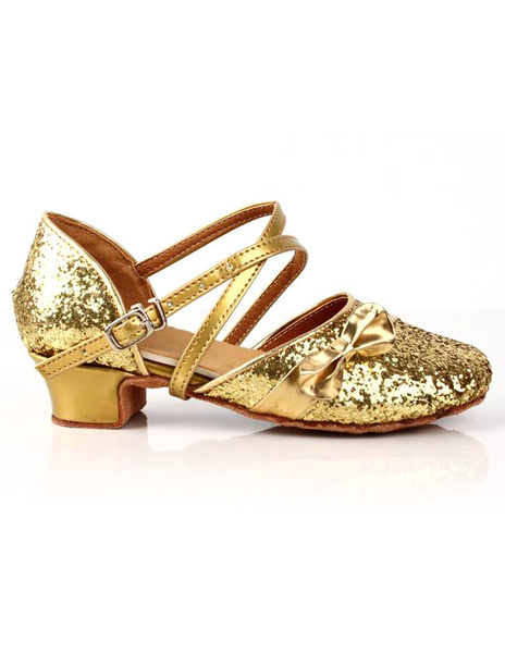 Milanoo Zapatos brillantes de bailes latinos de PU dorado de estilo dulce