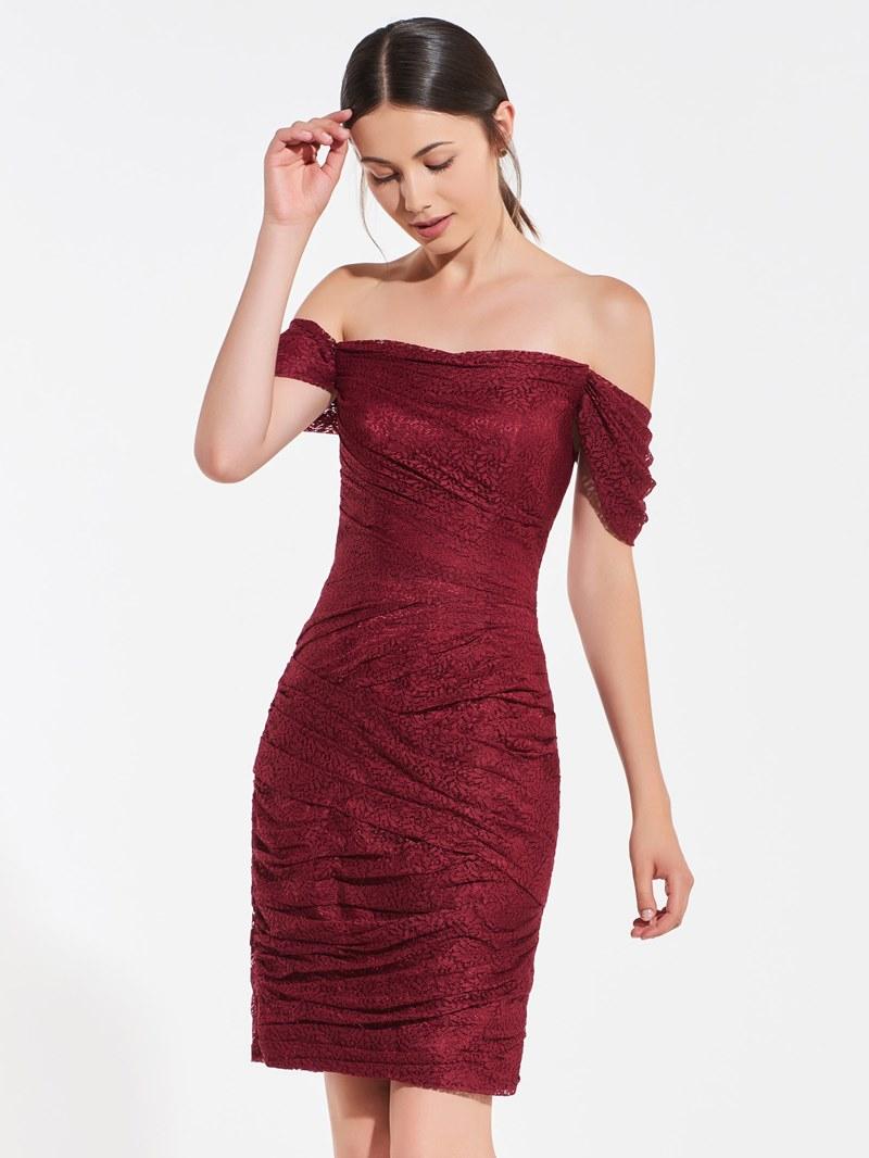 Ericdress Sheath Off The Shoulder Lace Short Bridesmaid Dress