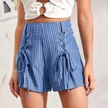 Shorts de rayas con cordon
