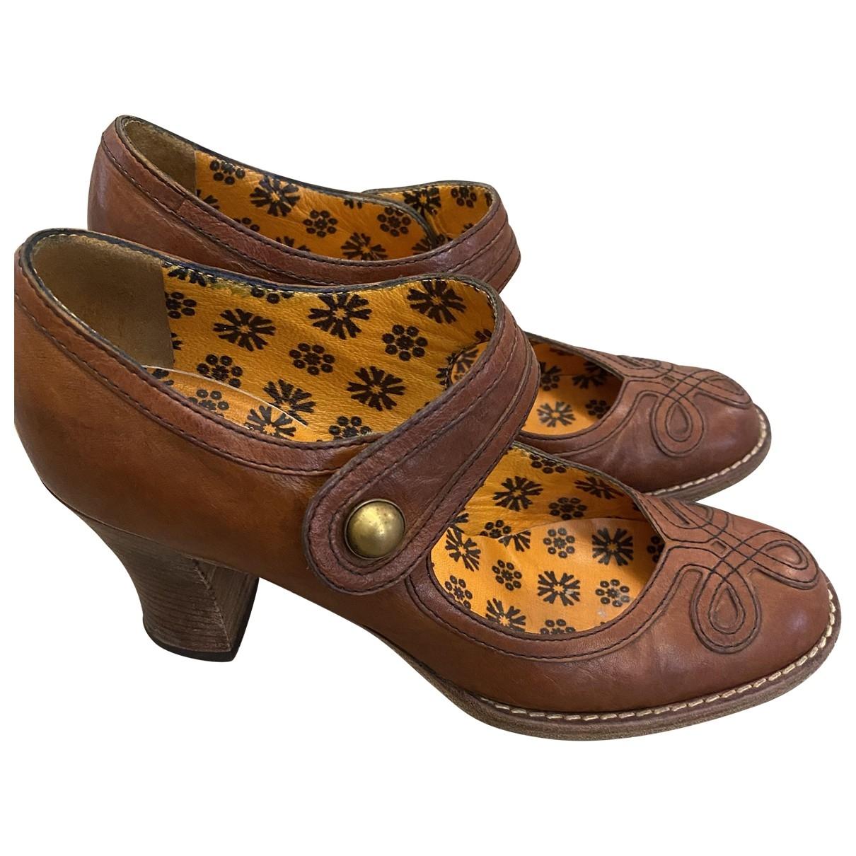 Anna Sui - Escarpins   pour femme en cuir - marron