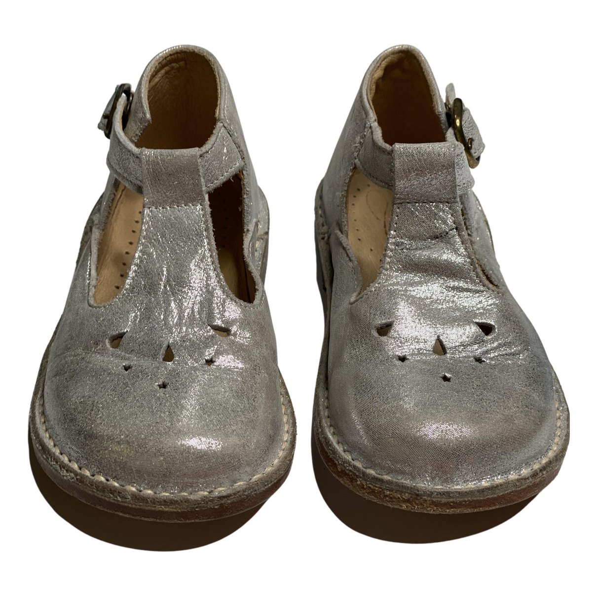 Bonpoint N Silver Leather Flats for Kids 23 FR