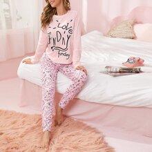 Schlafanzug Set mit Buchstaben Grafik und Muster