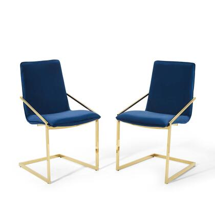 Pitch Collection EEI-4488-GLD-NAV Dining Armchair Performance Velvet Set of 2 in Gold Navy