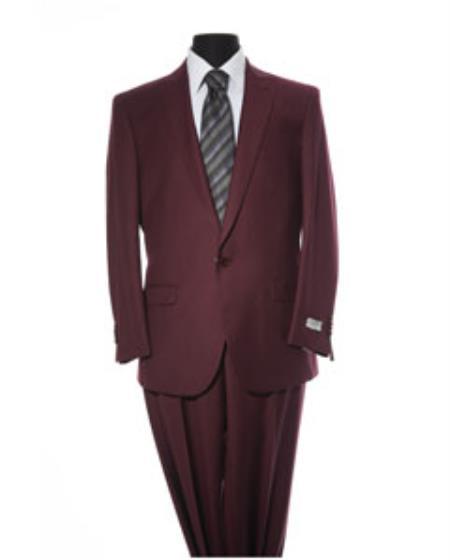 Mens Burgundy 2 Button 2 Piece Suit