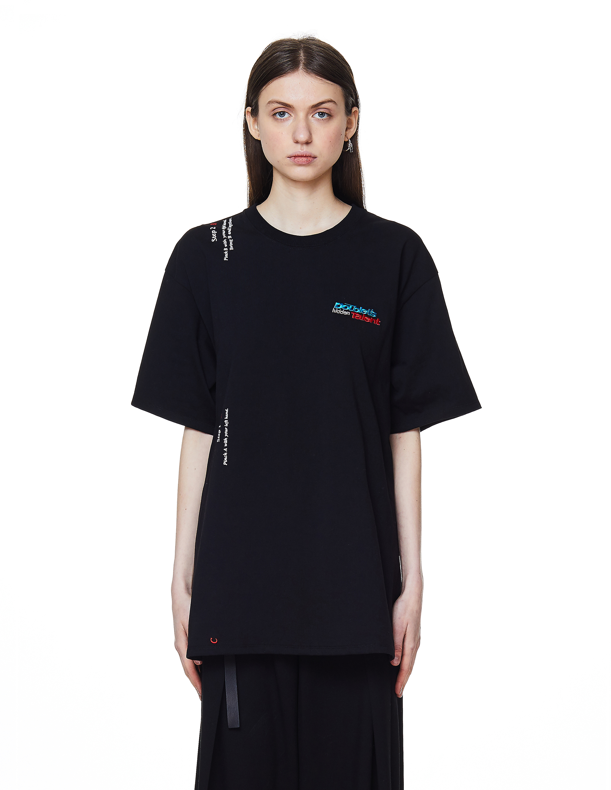 Doublet Black Instruction Embroidered T-Shirt
