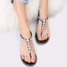 Rhinestone T-Strap Buckle Closure Jelly Sandals