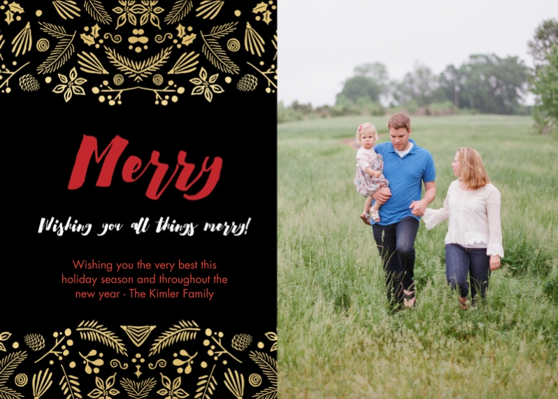 Christmas Photo Cards Flat Glossy Photo Paper Cards with Envelopes, 5x7, Card & Stationery -Fancy Foliage