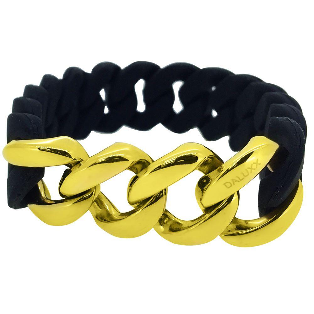 Gold Cuban Black Rubber Bracelet