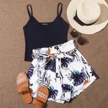 Rib-knit Cami Top & Belted Tropical Shorts Set