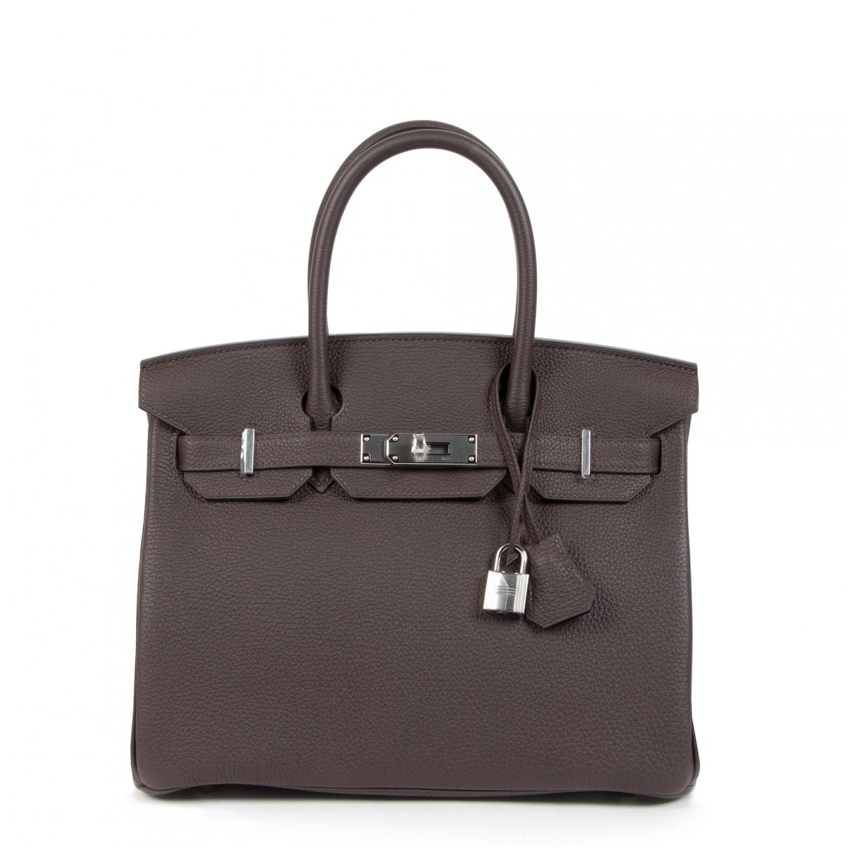 Hermes - Sac a main Birkin 30 pour femme en cuir - marron