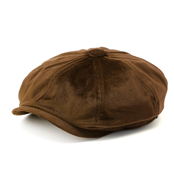 Men Women Solid Velvet Octagonal Flat Cap Newsboy Casual Warm Sunshade Beret Hats
