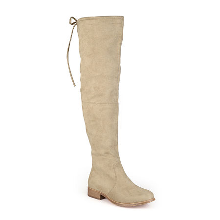 Journee Collection Womens Mount Wide Calf Over-the-Knee Boots, 11 Medium, Beige