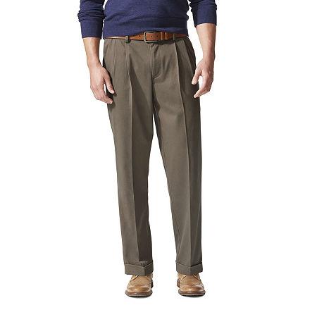 Dockers Men's Relaxed Fit Comfort Khaki Cuffed Pants - Pleated D4, 40 29, Beige