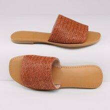 Raffia Woven Band Open Toe Slide Sandals