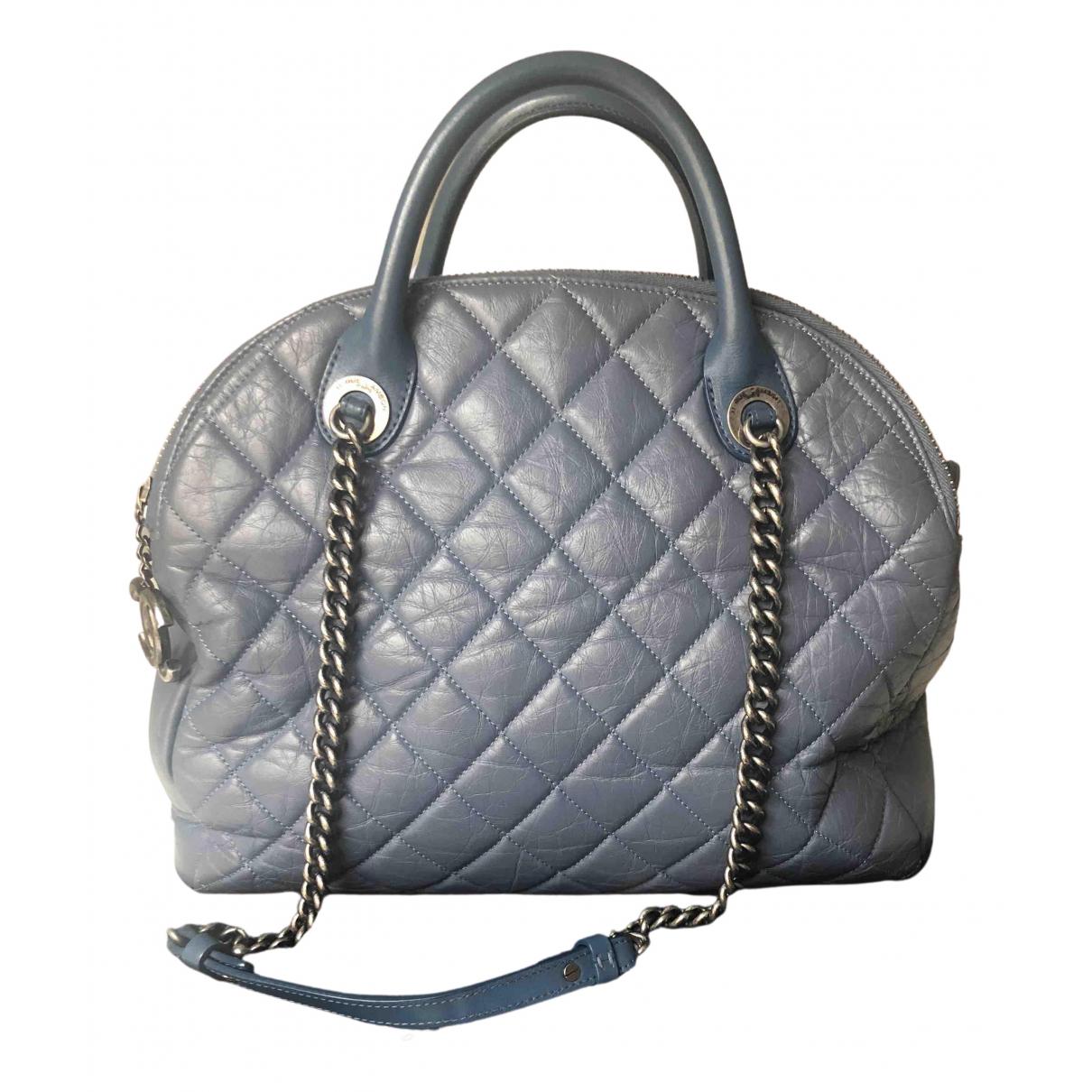 Chanel - Sac a main   pour femme en cuir - bleu