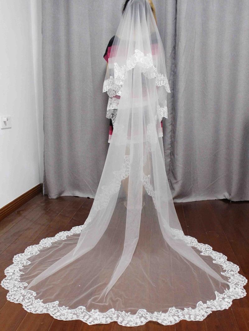 Ericdress 2T Lace Edge Long Blusher Wedding Veil