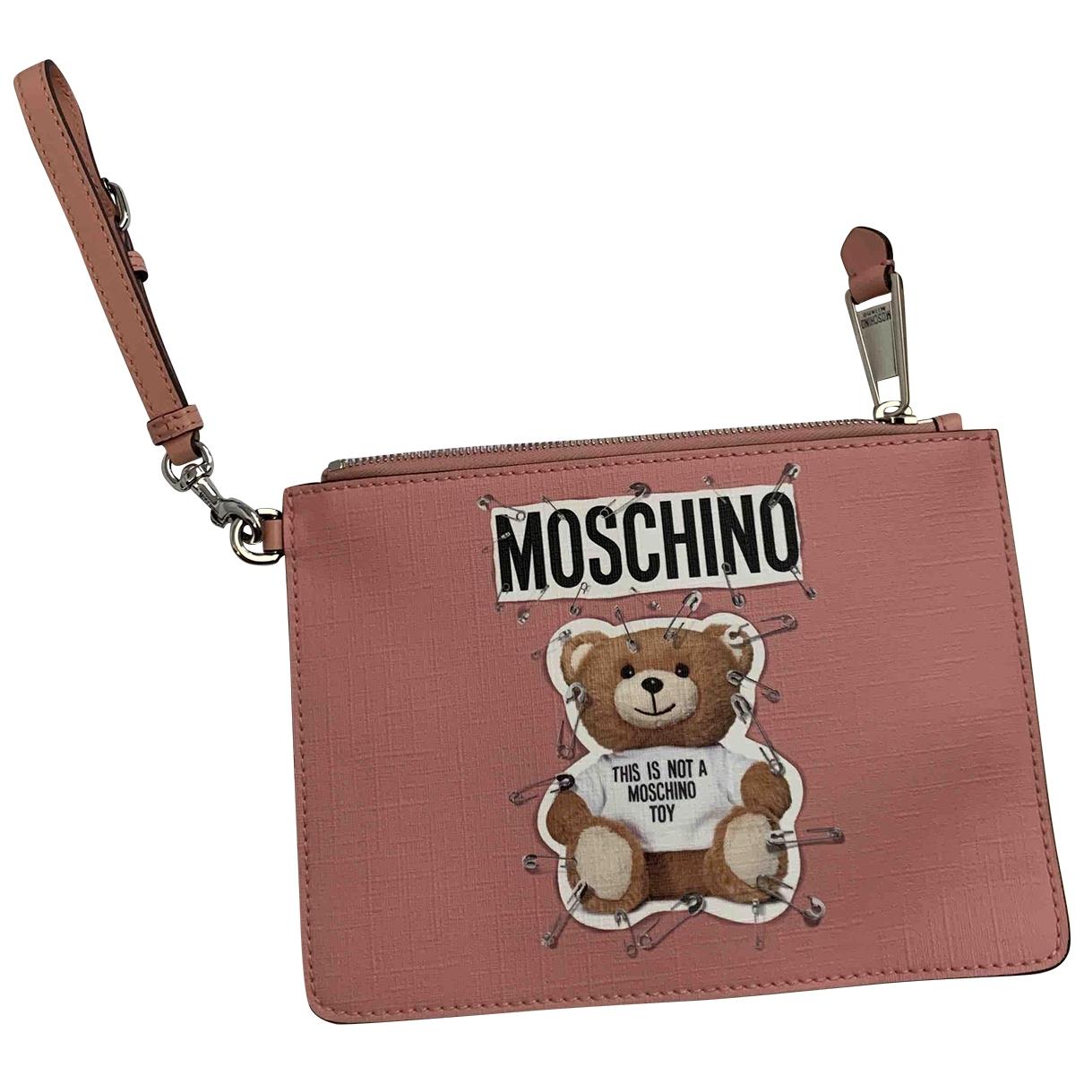 Moschino - Pochette   pour femme en cuir - rose