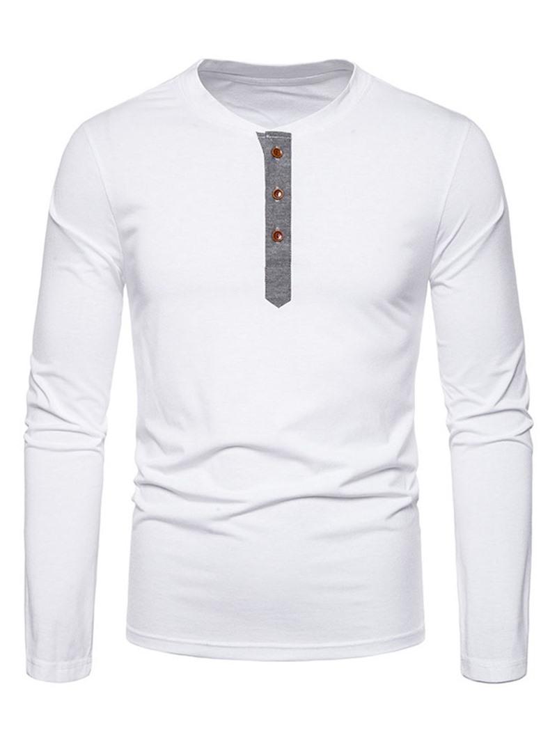 Ericdress Patchwork Color Block Casual Mens Polo Shirt