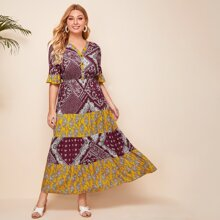 Plus Scarf And Paisley Print A-Line Dress
