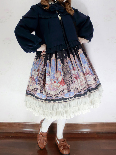 Milanoo Classic Lolita Overcoat Infanta Puff Bow Frill Bow Cashmere Cameo Pink Lolita Coat