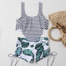 Bikini Badeanzug mit tropischem & Streifen Muster und Zipfelsaum